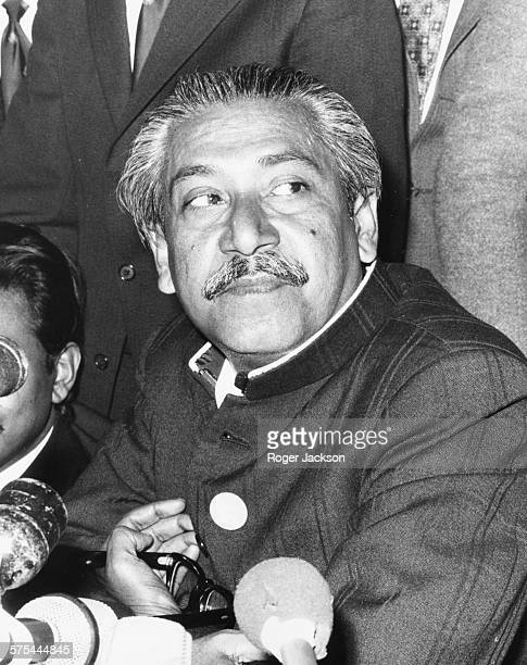 Leader of Bangladesh Sheikh Mujibur Rahman at a press conference following his release from West Pakistan in London January 8th 1972