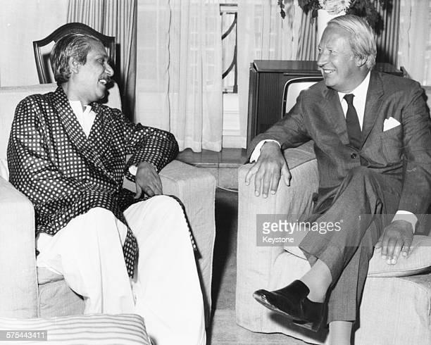 Leader of Bangladesh Sheikh Mujibur Rahman talking to British Prime Minister Edward Heath at Claridge's Hotel London August 19th 1972
