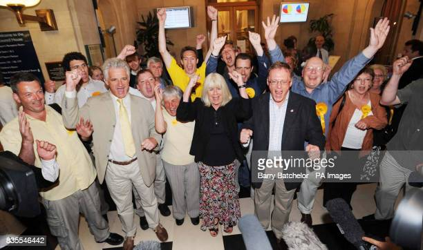 Leader of Bristol Council Barbara Janke celebartes with other party members after the Labour Party suffered a crushing defeat at local elections for...