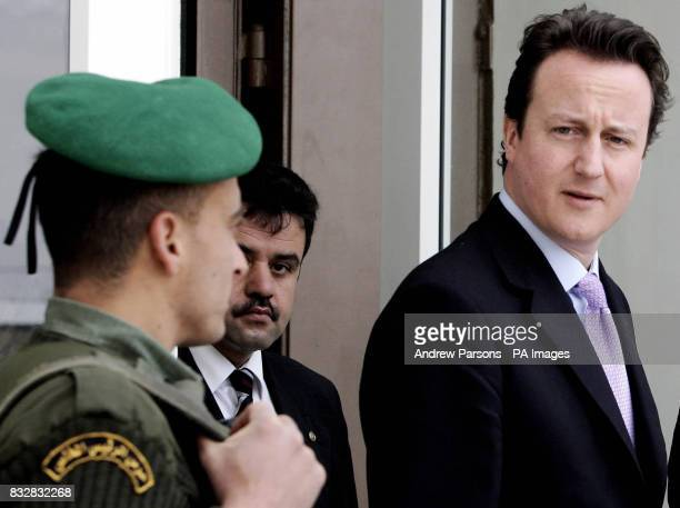 Leader of Britain's Conservative Party David Cameron after meeting Palestinian President Mahmoud Abbas at his residence in Ramallah Palestinian...