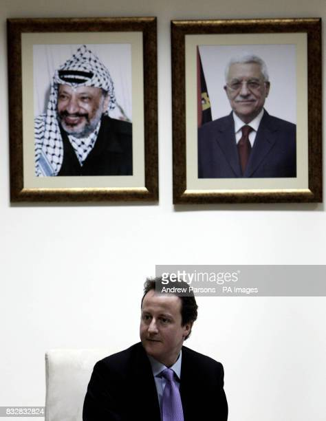 Leader of Britain's Conservative Party David Cameron during a meeting with Palestinian President Mahmoud Abbas at his residence in Ramallah...