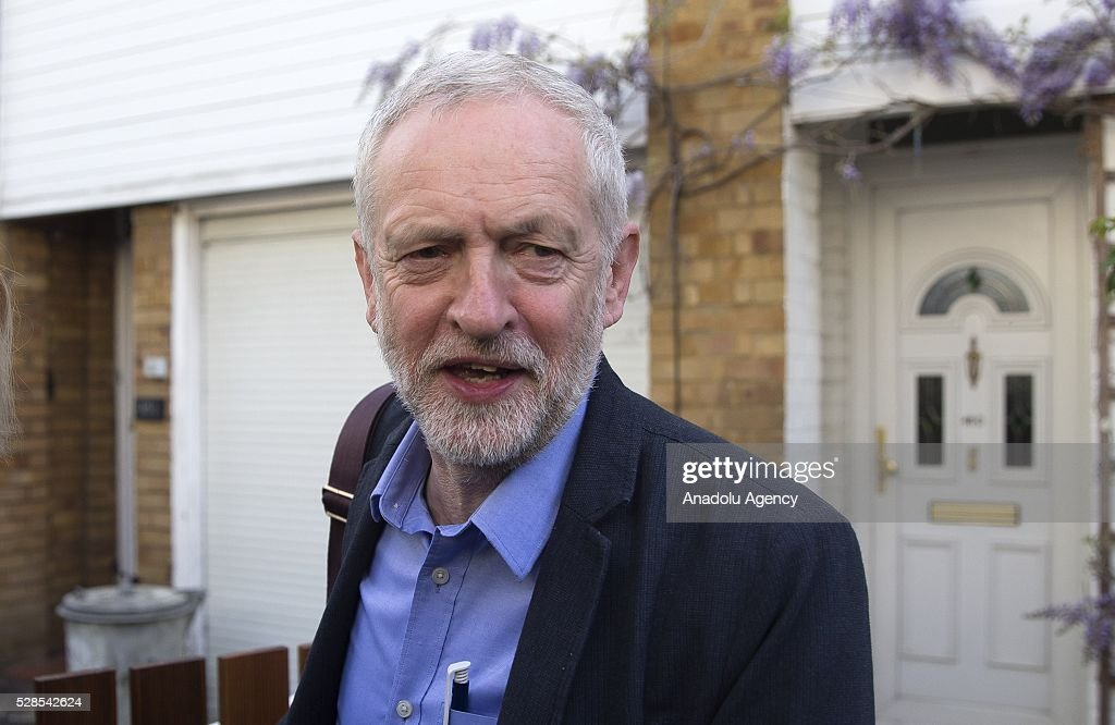 Leader of Britain's opposition Labour Party Jeremy Corbyn leaves his house as the 'Super Thursday' election results start to come in, on May 6, 2016 in North London, United Kingdom.
