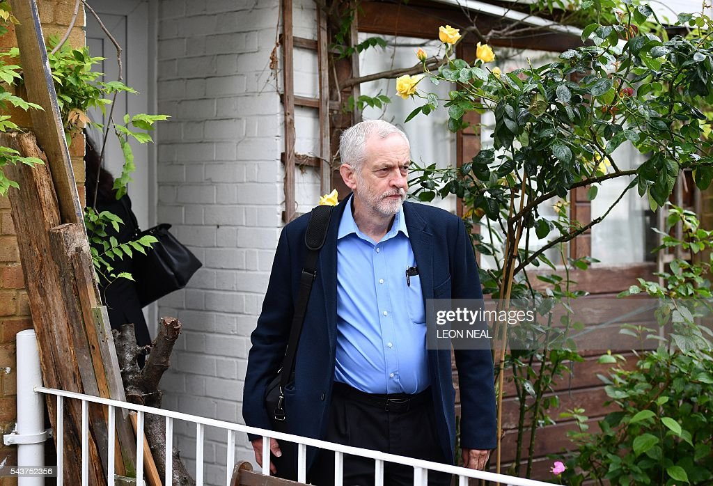 Leader of Britain's opposition Labour Party Jeremy Corbyn leaves his home in London on June 30, 2016. Jeremy Corbyn has vowed to stay in his job despite losing a confidence vote of MPs in his Labour party, dozens of whom have quit his frontbench team in recent days. / AFP / LEON