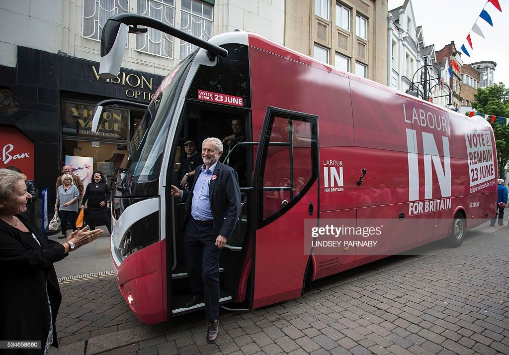 Leader of Britain's opposition Labour Party, Jeremy Corybn, steps off of the party's bus as he arrives to deliver a speech on the merits of Britain remaining in the European Union (EU), in Doncaster on May 27, 2016. With just under four weeks to go until the June 23 referendum, the Remain camp is on 53 percent and the Leave campaign on 47 percent, according to the What UK Thinks website's average of the most recent six opinion polls. / AFP / Lindsey Parnaby