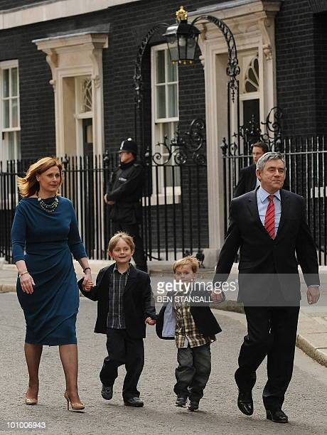 Leader of Britain's ruling Labour Party Gordon Brown his wife Sarah and children John and James walk to his car after he annouced his resignation as...