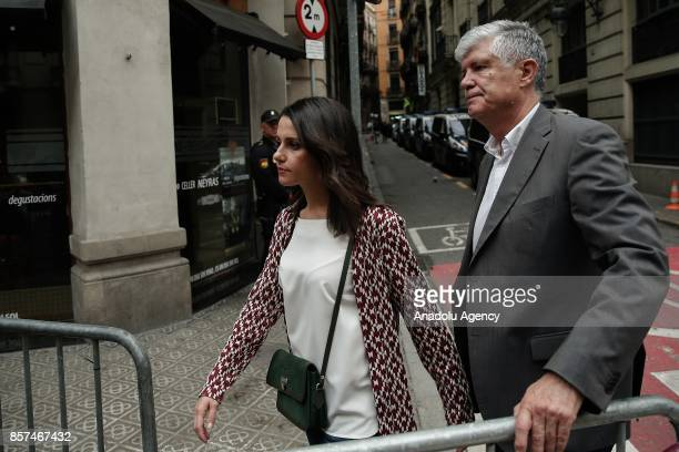 Leader of Ciudadanos party in Catalonia Ines Arrimadas visits the police headquarters in Barcelona Spain on October 4 2017 after the controversial...