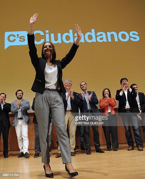 Leader of Ciutadans in Catalonia Ines Arrimadas gestures at the Palace of Congress in Cadizon November 7 2015 during the submission of centerright...