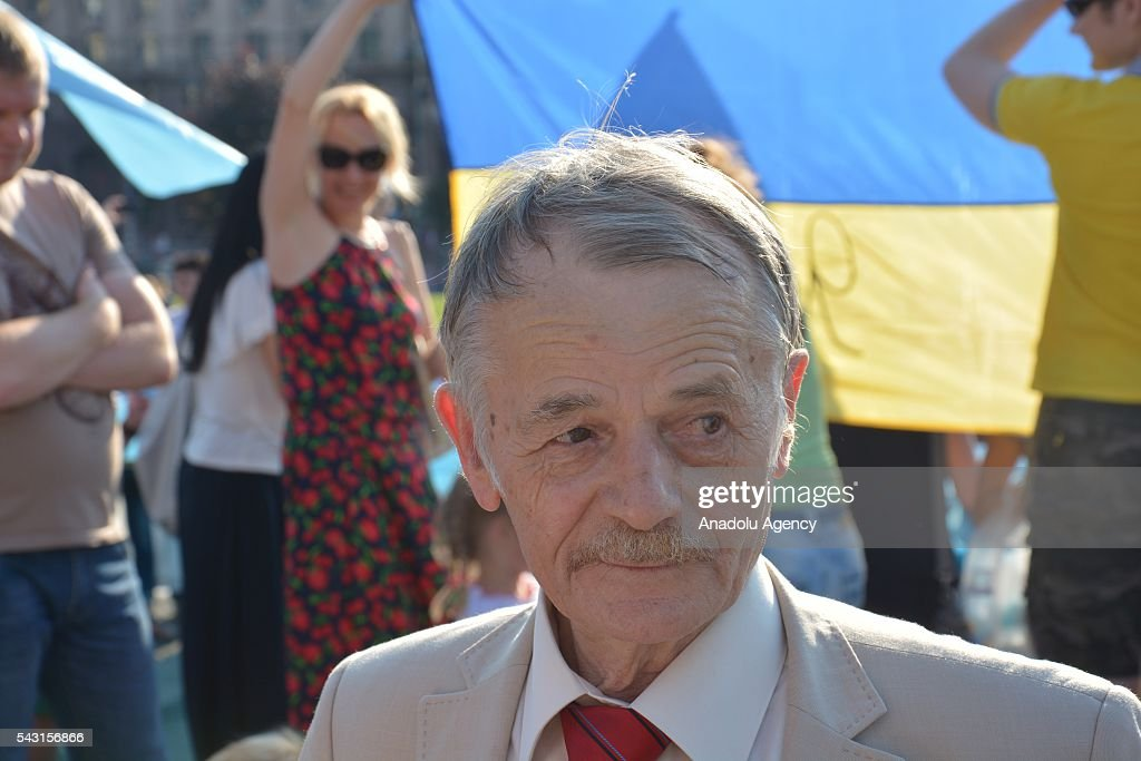 Leader of Crimean Tatars, Mustafa Dzhemilev attends the 'Crimean Tatar Flag Day' in Kiev, Ukraine on June 26, 2016.