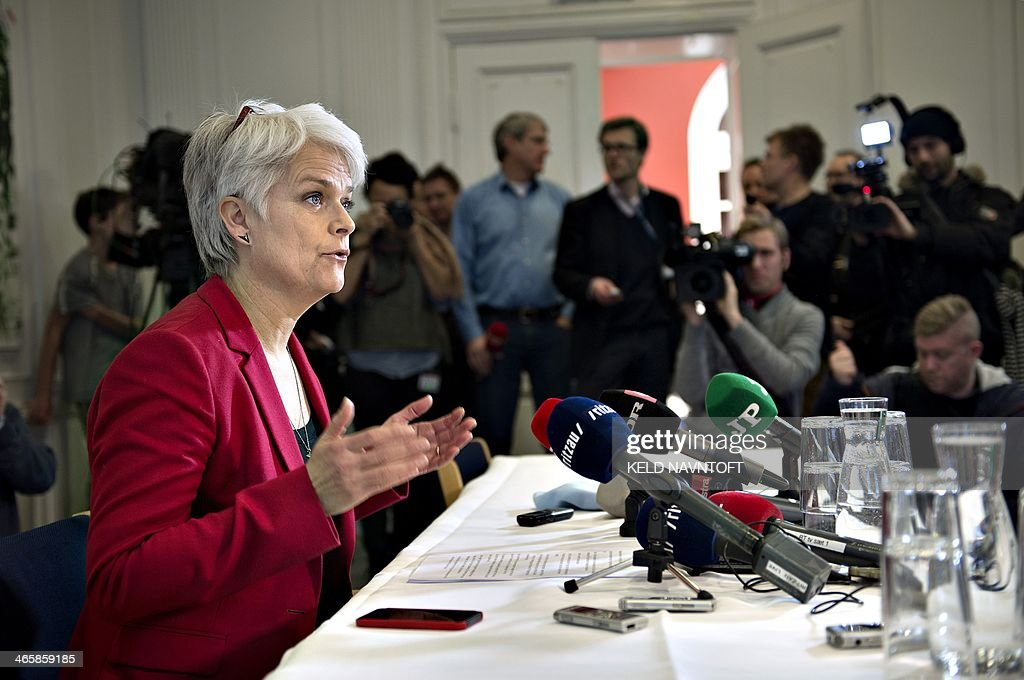 Leader of Danish Socialist People's Party and Minister for Social Affairs and Integration Annette Vilhelmsen announces her resignation from both posts and the pullout of the Socialist People's Party from Denmark's leftist government at a press conference in Copenhagen on January 30, 2014. The Socialist People's Party, one of the three member's of Denmark's leftist coalition, left the government over the controversial sale of a stake in state-controlled energy group DONG to a US investment bank.