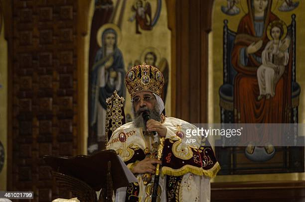 Leader of Egypt's Coptic Christians Pope Tawadros II Head of the Egyptian Coptic Orthodox Church leads the Coptic Christmas midnight mass at the...