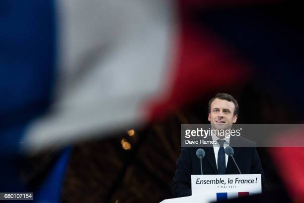 Leader of 'En Marche ' Emmanuel Macron adresses suporters after winning the French Presidential Election at The Louvre on May 7 2017 in Paris France...