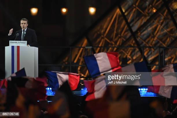Leader of 'En Marche ' Emmanuel Macron speaks after winning the French Presidential Election at The Louvre on May 7 2017 in Paris France ProEU...