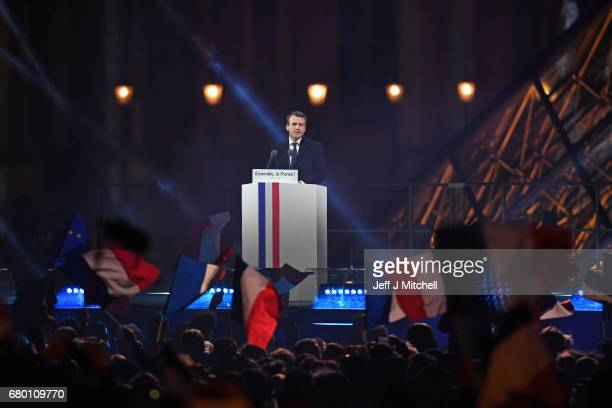 Leader of 'En Marche ' Emmanuel Macron speaks to supporters after winning the French Presidential Election at The Louvre on May 7 2017 in Paris...