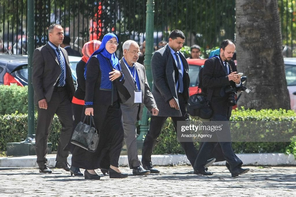 Leader of Ennahda movement Rashid al-Ghannushi (C) attends the anti-terrorism march at Bardo Square in Tunis, Tunisia on March 29, 2015 after the Bardo Museum attack. At least 24 people, mostly foreign tourists, were killed and over 47 injured when gunmen stormed Tunis' Bardo Museum on March 18, 2015.