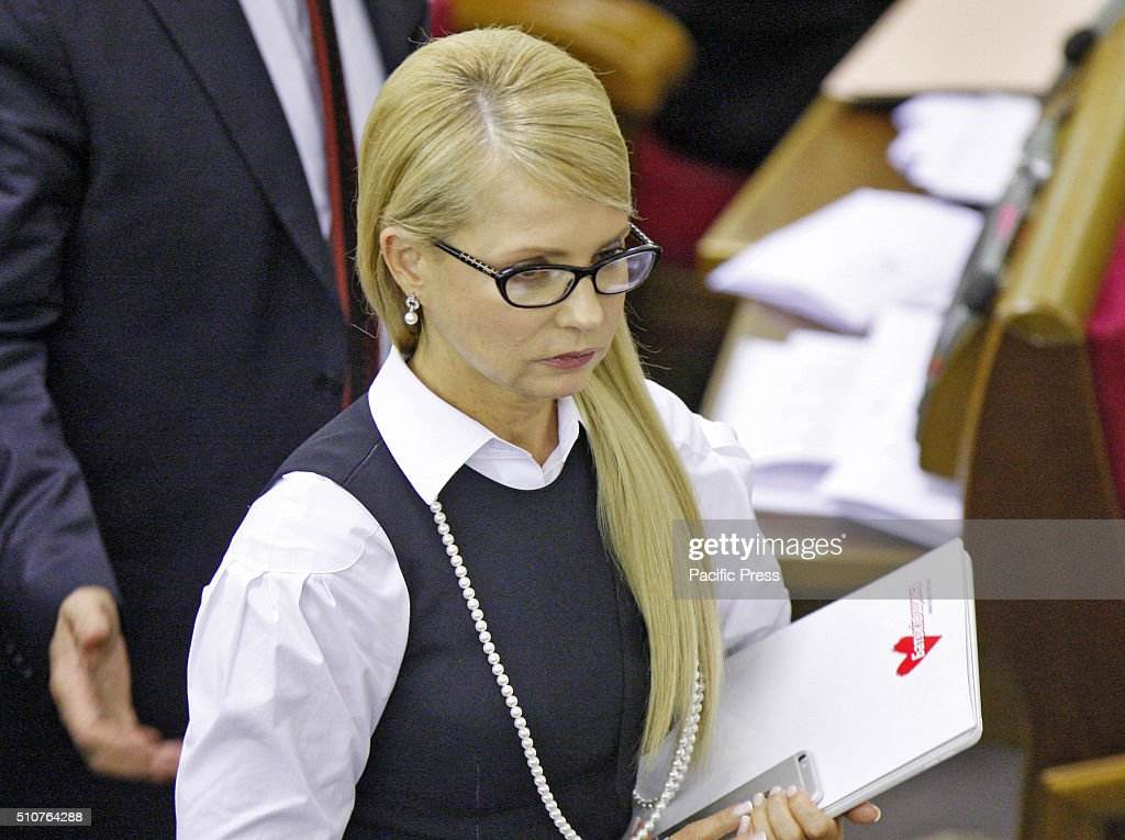 Leader of 'Fatherland' party Yuliya Tymoshenko prior to a lawmakers no confidence voting on the government at the Ukrainian Parliament in Kiev, Ukraine. Ukrainian President Petro Poroshenko asked Prime Minister Arseniy Yatsenyuk and General Prosecutor Viktor Shokin to resign for prohibiting the progress of political crisis in Ukraine, as report local media. But today lawmakers did not have enough votes to express no confidence in the Government.