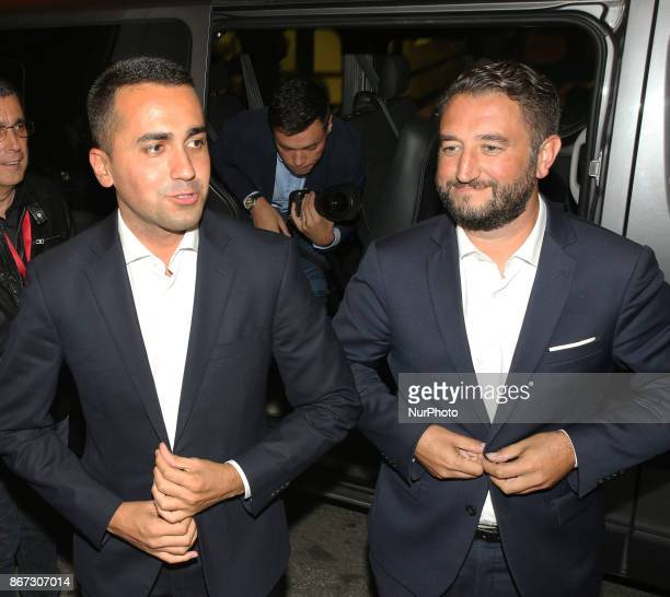 Leader of Five Star Movement Luigi Di Maio and Giancarlo Cancelleri meet the citizens in Messina Italy on October 27 2017 during the electoral...