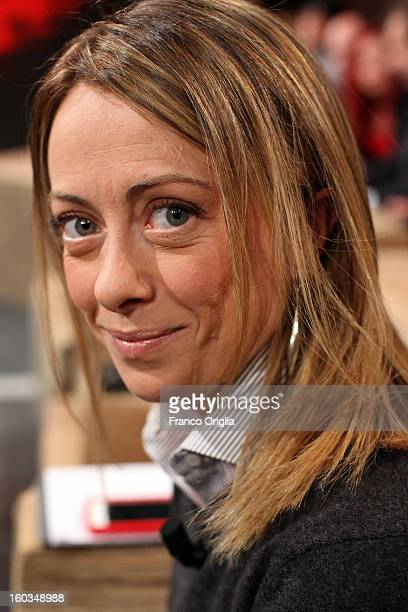 Leader of 'Fratelli d'Italia' party Giorgia Meloni attends 'Ballaro' Italian TV show on January 29 2013 in Rome Italy National Elections in Italy are...