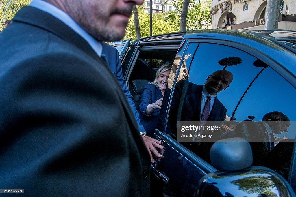 Leader of French far-right party Front National (FN) Marine Le Pen arrives at the Jeanne d Arc statue to take part in the party's traditional May Day rally in Saint Augustin Square in Paris, France on May 01, 2016