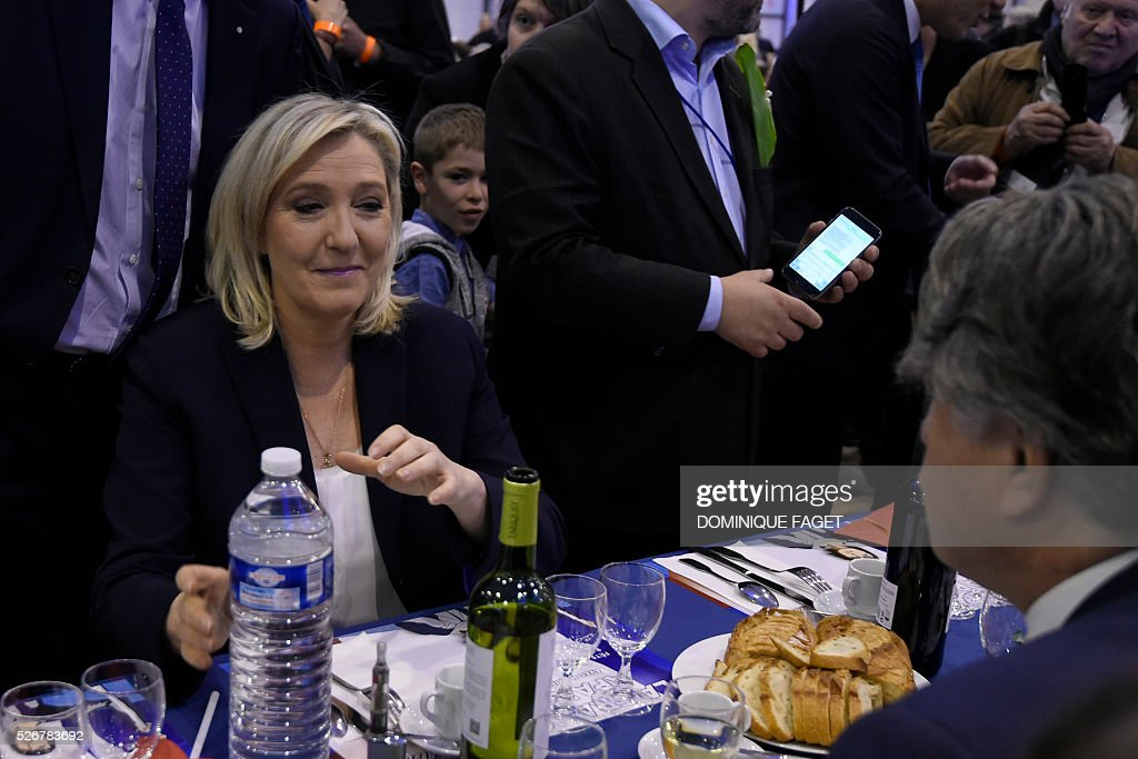 France's far-right Front National (FN) party founder and former leader Jean-Marie Le Pen attends a party lunch in Paris on May 1, 2016.