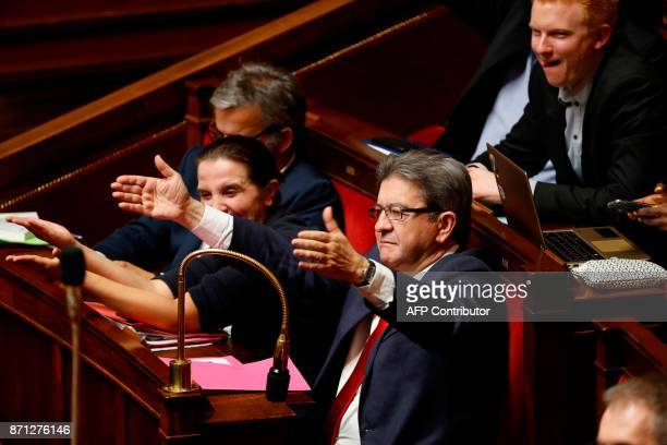 Leader of French leftist party La France Insoumise and parliamentary group president JeanLuc Melenchon reacts during a session of questions to the...