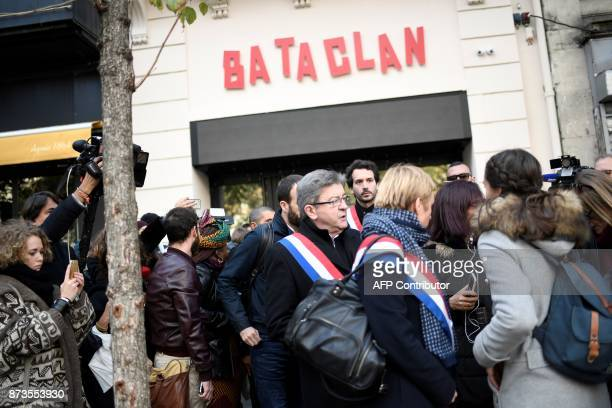 Leader of French leftist party La France Insoumise JeanLuc Melenchon stands in front of the Bataclan concert venue during ceremonies across Paris...