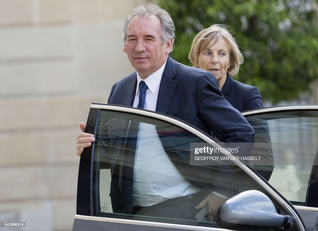 Leader of French MoDem centrist party Francois Bayrou (C) and MoDem member Marielle de Sarnez arrive for a meeting with French President on June 25, 2016 at the Elysee Palace in Paris, after Britain voted to leave the European Union a day before. Europe's press was awash with gloom and doom over Brexit on June 25, warning that it was a boon for nationalists while urging EU leaders to meet the challenge of their 'rendezvous with history'. / AFP / GEOFFROY