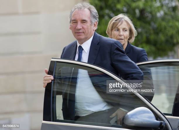 Leader of French MoDem centrist party Francois Bayrou and MoDem member Marielle de Sarnez arrive for a meeting with French President on June 25 2016...
