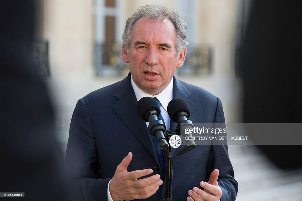 Leader of French MoDem centrist party Francois Bayrou makes a statement after a meeting with French President on June 25, 2016 at the Elysee Palace in Paris, after Britain voted to leave the European Union a day before. Europe's press was awash with gloom and doom over Brexit on June 25, warning that it was a boon for nationalists while urging EU leaders to meet the challenge of their 'rendezvous with history'. / AFP / GEOFFROY
