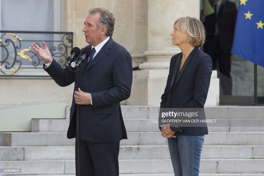 Leader of French MoDem centrist party Francois Bayrou (L) makes a statement, next to MoDem member Marielle de Sarnez (R), after a meeting with French President on June 25, 2016 at the Elysee Palace in Paris, after Britain voted to leave the European Union a day before. Europe's press was awash with gloom and doom over Brexit on June 25, warning that it was a boon for nationalists while urging EU leaders to meet the challenge of their 'rendezvous with history'. / AFP / GEOFFROY
