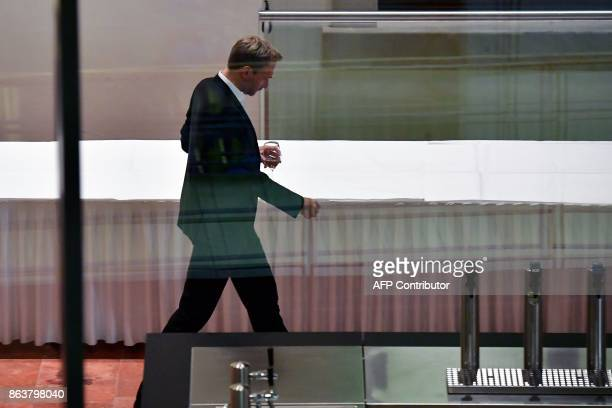 Leader of Germany's free democratic FDP party Christian Lindner is seen during a break in coalition talks in Berlin on October 20 2017 PHOTO / Tobias...
