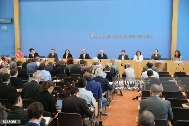 Leader of Germany's Social Democrats Martin Schulz German Foreign Minister Sigmar Gabriel German Social Democrats Bundestag faction leader Thomas...