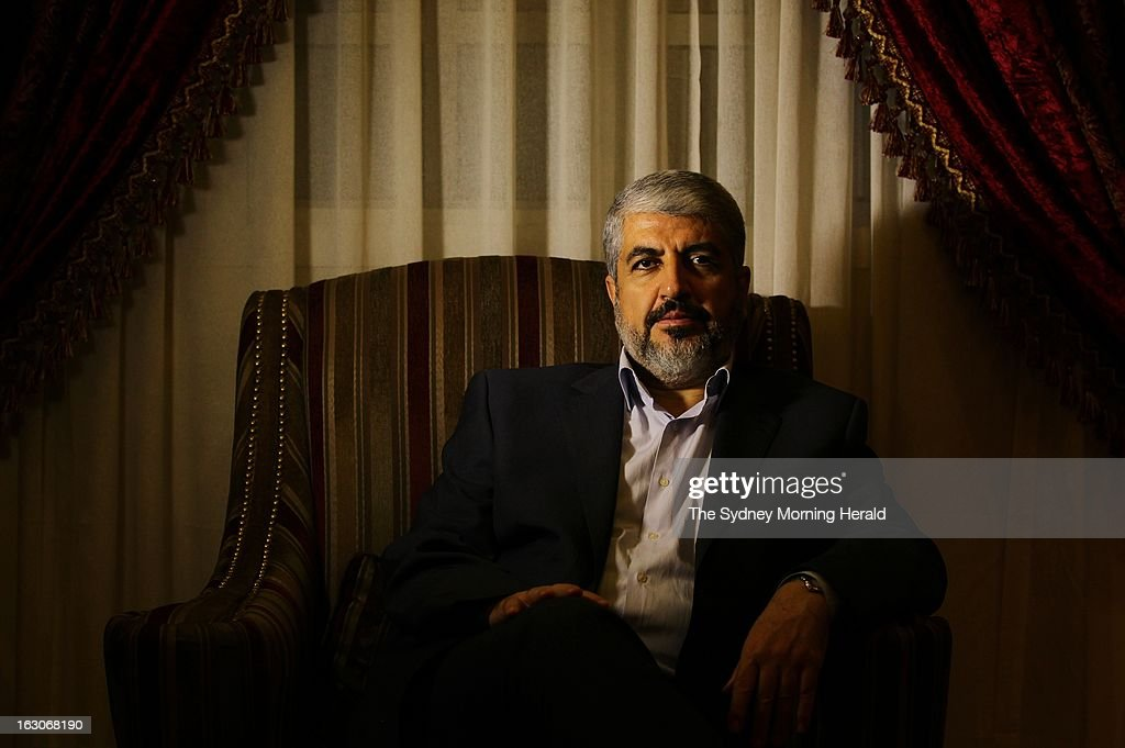 (AUSTRALIA OUT, NEW ZEALAND OUT) Leader of Hamas Khalid Mishal, is interviewed at a private house in on February 6, 2013 in Doha, Qatar. 2013. (Photo by Kate Geraghty/The Sydney Morning Herald/Fairfax Media via Getty Images).