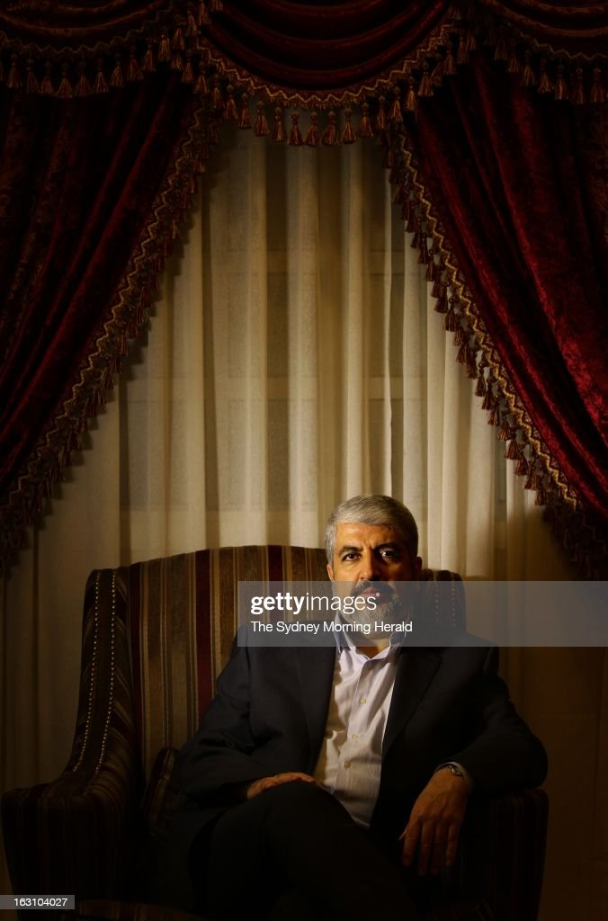 (AUSTRALIA OUT) Leader of Hamas Khalid Mishal, is interviewed at a private house in on February 6, 2013 in Doha, Qatar. 2013.