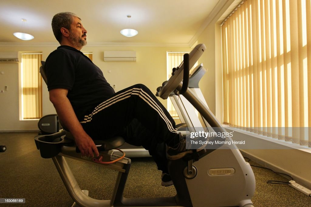 (AUSTRALIA OUT, NEW ZEALAND OUT) Leader of Hamas Khalid Mishal works out in a friend's private gym on February 5, 2013 in Doha, Qatar. (Photo by Kate Geraghty/The Sydney Morning Herald/Fairfax Media via Getty Images).
