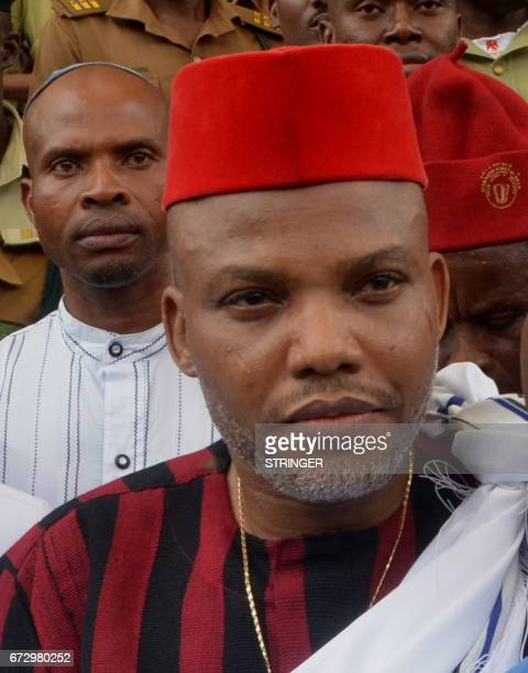 Leader of Indigenous People of Biafra Nnamdi Kanu steps out of the courtroom after being granted bail by the Federal High Court in Abuja on April 25...