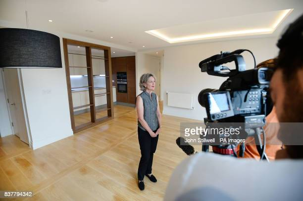 Leader of Kensington amp Chelsea Council Elizabeth Campbell speaks to the media in the living room and kitchen of a two bedroom flat in Chelsea west...