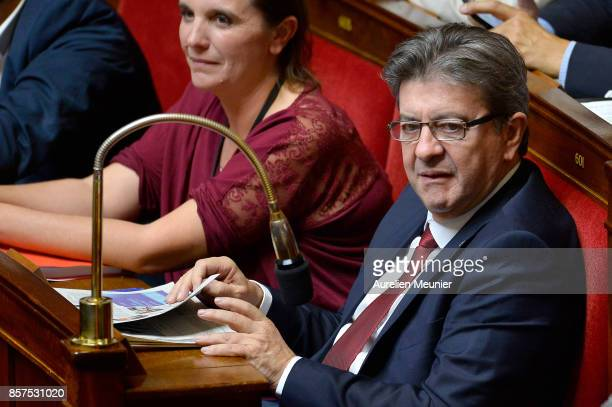 Leader of 'La France Insoumise' Jean Luc Melenchon reacts as Ministers answer deputies during the weekly questions to the government at Assemblee...