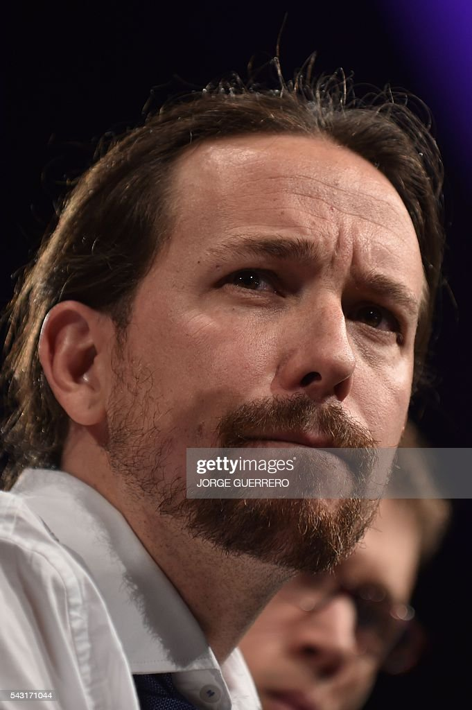 Leader of left wing party Podemos and party candidate, Pablo Iglesias delivers a speech before the official results of Spain's general election in Madrid on June 26, 2016. Spain's second elections in six months was due to conclude on June 26 in much the same way as they did in December, with the incumbent conservatives winning tailed by the Socialist party, partial results showed. / AFP / JORGE