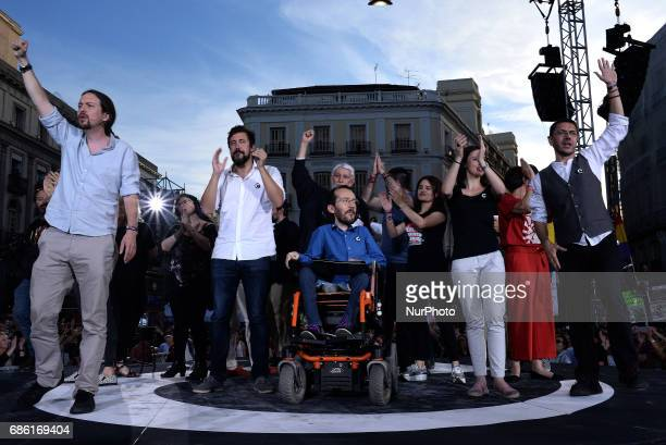 Leader of left wing party Podemos Pablo Iglesias Leftwing party Podemos member Pablo Echenique Leftwing party Podemos spokeswoman in the Congress of...