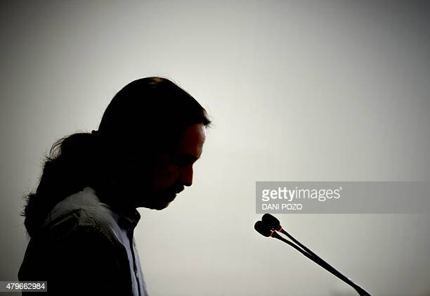Leader of leftwing protest party Podemos Pablo Iglesias gives a press conference in Madrid on July 6 2015 The leader of Spain's leftist Podemos party...