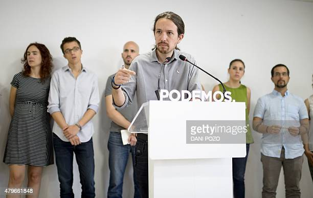 Leader of leftwing protest party Podemos Pablo Iglesias speaks during a press conference in Madrid on July 6 2015 The leader of Spain's leftist...