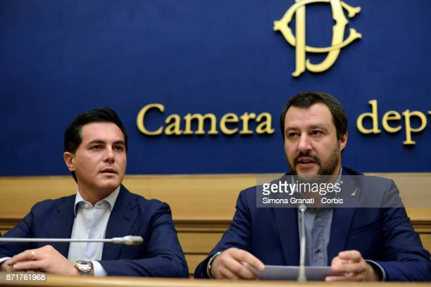 Leader of Lega Matteo Salvini and Nuccio Altieri during a press conference to present two new parliamentarians who have left the Conservative and...