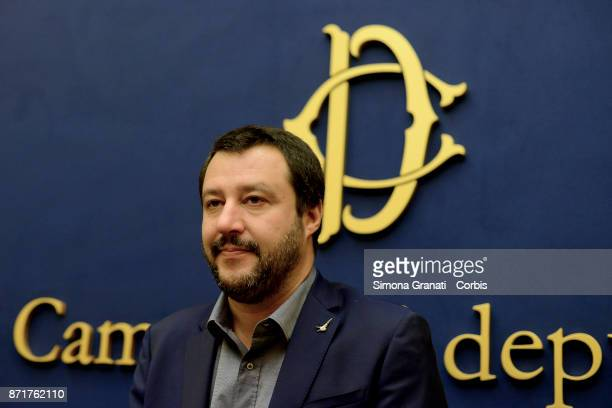 Leader of Lega Matteo Salvini during a press conference to present two new parliamentarians who have left the Conservative and Reformist Group on...