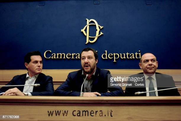 Leader of Lega Matteo SalviniNuccio Altieri and Roberto Marti during a press conference to present two new parliamentarians who have left the...