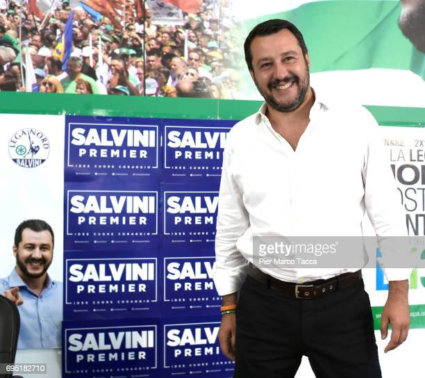 Leader of Lega Nord party Matteo Salvini attends a press conference on June 12 2017 in Milan Italy The leader of the Northern League party Matteo...