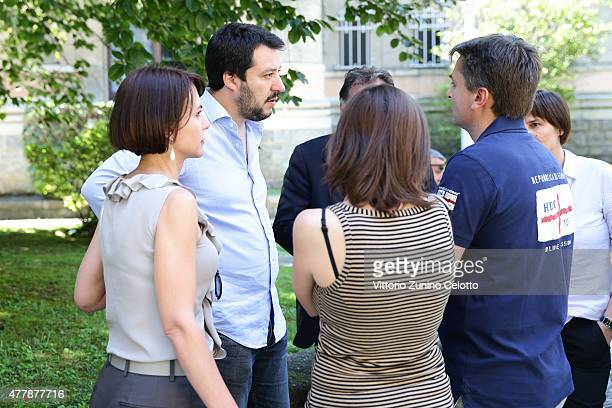 Leader of lega nord political party Matteo Salvini is seen during the Milan Men's Fashion Week Spring/Summer 2016 on June 20 2015 in Milan Italy