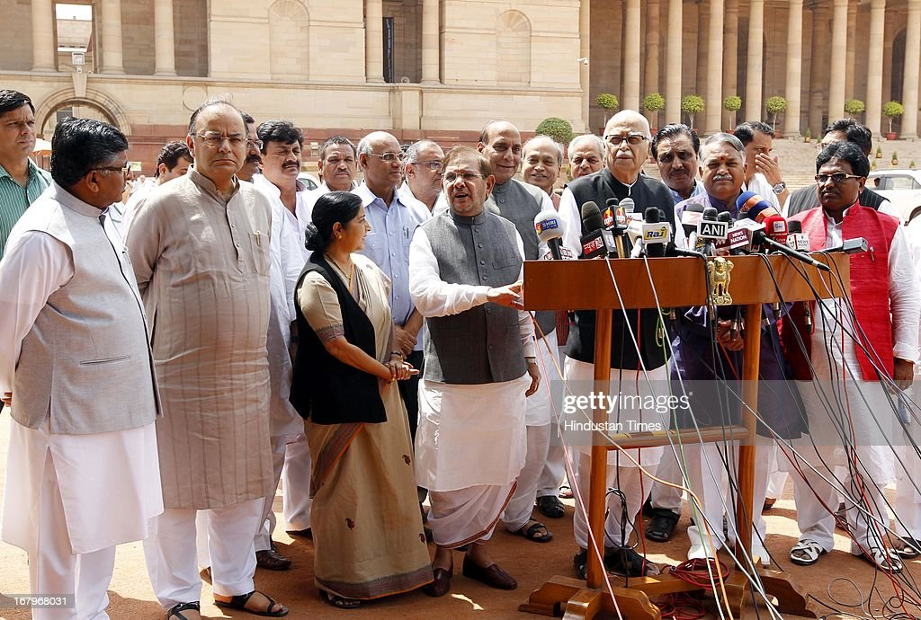 Leader of Opposition in Lok Sabha Sushma Swaraj, BJP Parliamentary Party Chief LK Advani, JD (U) Chief Sharad Yadav and BJP President Rajnath Singh talking to the media person after meeting with President Pranab Mukherjee at the forecourt of Rashtrapati Bhawan on May 3, 2013 in New Delhi, India. MPs of BJP-led NDA today met President Pranab Mukherjee to express concern over Chinese incursions into Ladakh and the manner in which the case of Indian prisoner Sarabjit Singh was handled by the government.