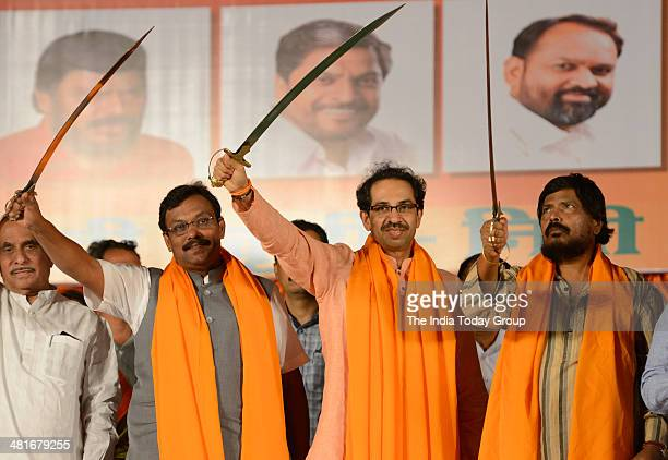 Leader of Opposition in Maharashtra Legislative Council and BJP member Vinod Tavade Shiv Sena president Uddhav Thackeray and RPI supremo Ramdas...