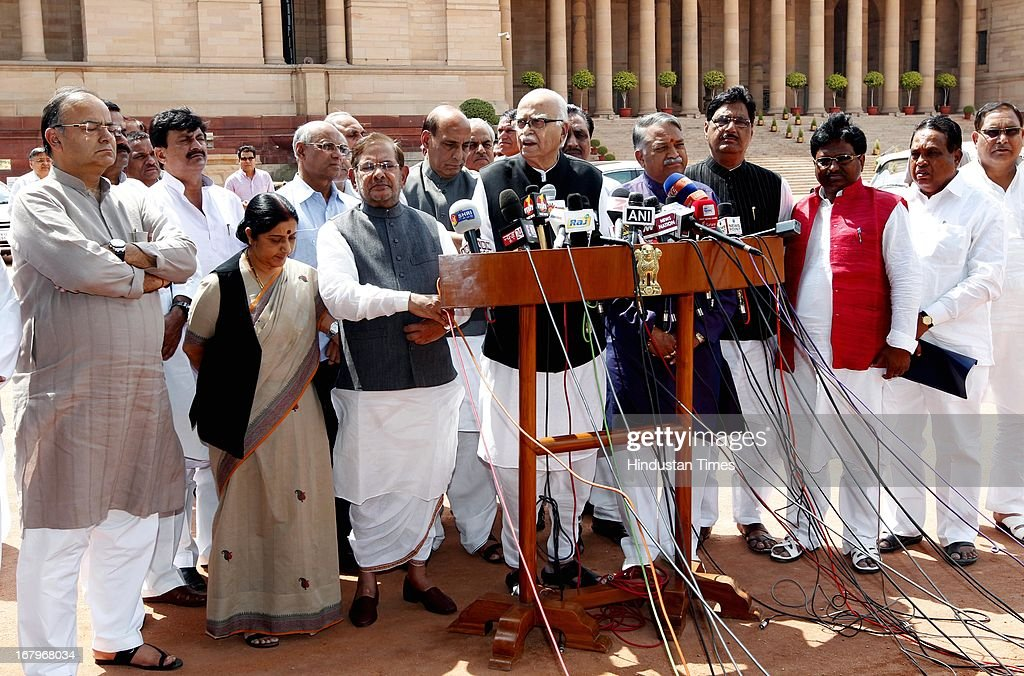 Leader of Opposition in Rajya Sabha Arun Jaitley, his Lok sabha counterpart Sushma Swaraj, JD (U) Chief Sharad Yadav, BJP President Rajnath Singh, BJP Parliamentary Party Chief LK Advani and party's MPs talking to media persons after meeting with President Pranab Mukherjee at the forecourt of Rashtrapati Bhawan on May 3, 2013 in New Delhi, India. MPs of BJP-led NDA today met President Pranab Mukherjee to express concern over Chinese incursions into Ladakh and the manner in which the case of Indian prisoner Sarabjit Singh was handled by the government.