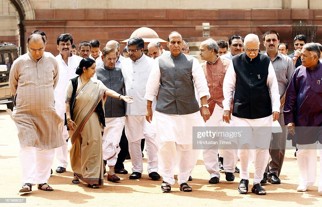 Leader of Opposition in Rajya Sabha Arun Jaitley, his Lok sabha counterpart Sushma Swaraj, JD (U) Chief Sharad Yadav, BJP President Rajnath Singh, BJP Parliamentary Party Chief LK Advani and party's MP after meeting with President Pranab Mukherjee at the forecourt of Rashtrapati Bhawan on May 3, 2013 in New Delhi, India. MPs of BJP-led NDA today met President Pranab Mukherjee to express concern over Chinese incursions into Ladakh and the manner in which the case of Indian prisoner Sarabjit Singh was handled by the government.